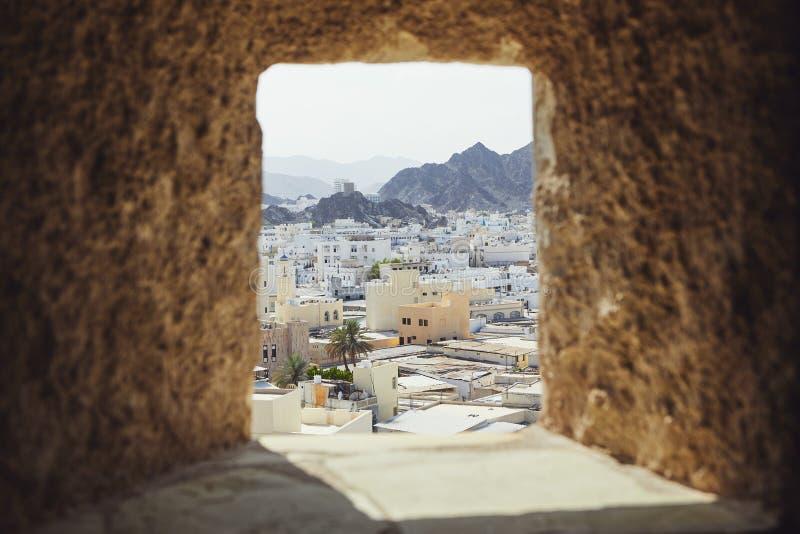 Muscat stad från fort royaltyfria bilder