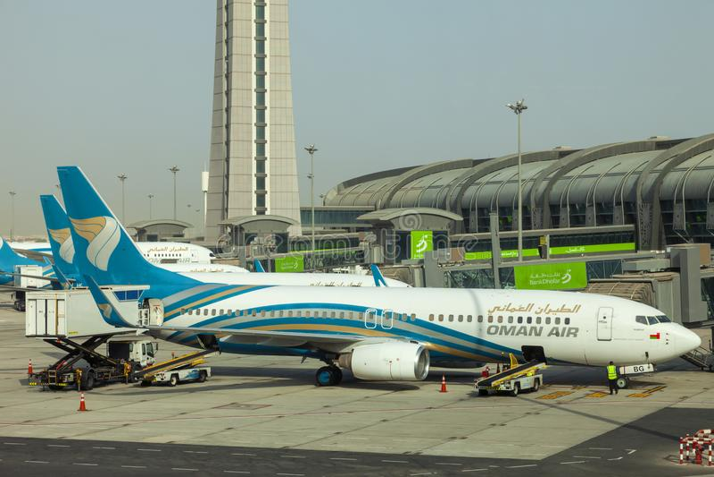 Muscateldruif, Oman, beeld gedateerd 31 de Muscateldruif nieuwe luchthaven van September 2018 met de luchtvliegtuigen van Oman royalty-vrije stock foto's