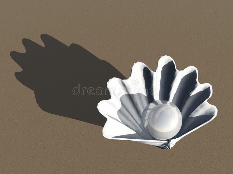 Muschel mit Perle lizenzfreie abbildung