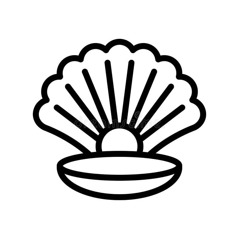 Muschel mit Perlenvektor, tropische in Verbindung stehende Linie Artikone stock abbildung