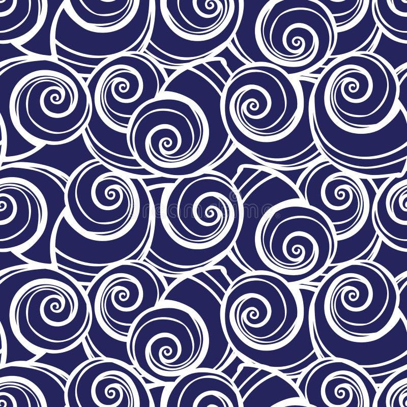 Muschel-Wiederholungsmuster des Vektors blaues gewundenes Passend für Geschenkverpackung, -gewebe und -tapete stock abbildung