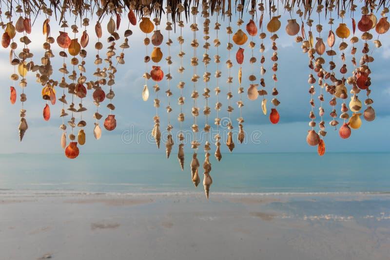 Muscheln, die an den Schnüren für Dekoration hängen stockfoto