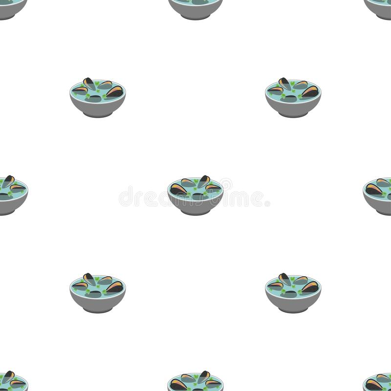Muschelsuppenmuster nahtlos Japanischer Hintergrund der Meeresfrüchte Oberteilschüssel-Vektorbeschaffenheit vektor abbildung
