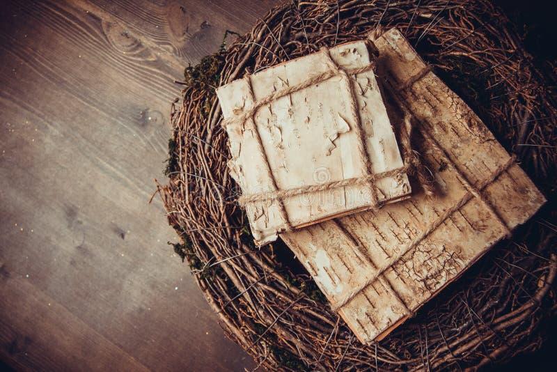 Muschio e corone di legno fotografia stock libera da diritti