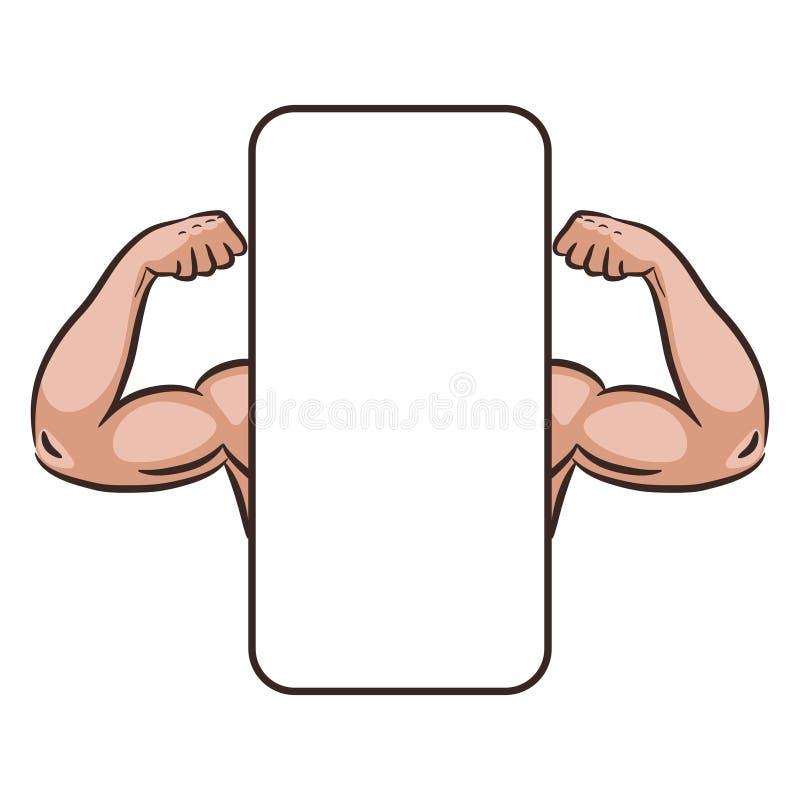 Muscle шаблон знамени вектора app оружий мужчины передвижной иллюстрация вектора