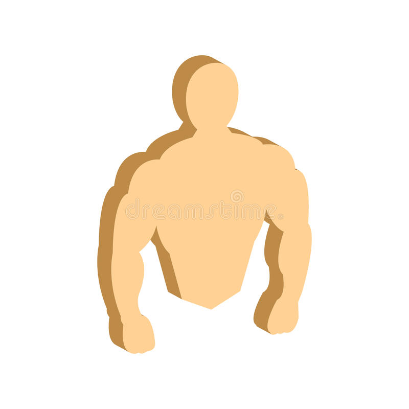 Muscle body, Bodybuilding, Fitness symbol. Flat Isometric Icon or Logo. 3D Style Pictogram for Web Design, UI, Mobile App, Infographic. Vector Illustration on stock illustration