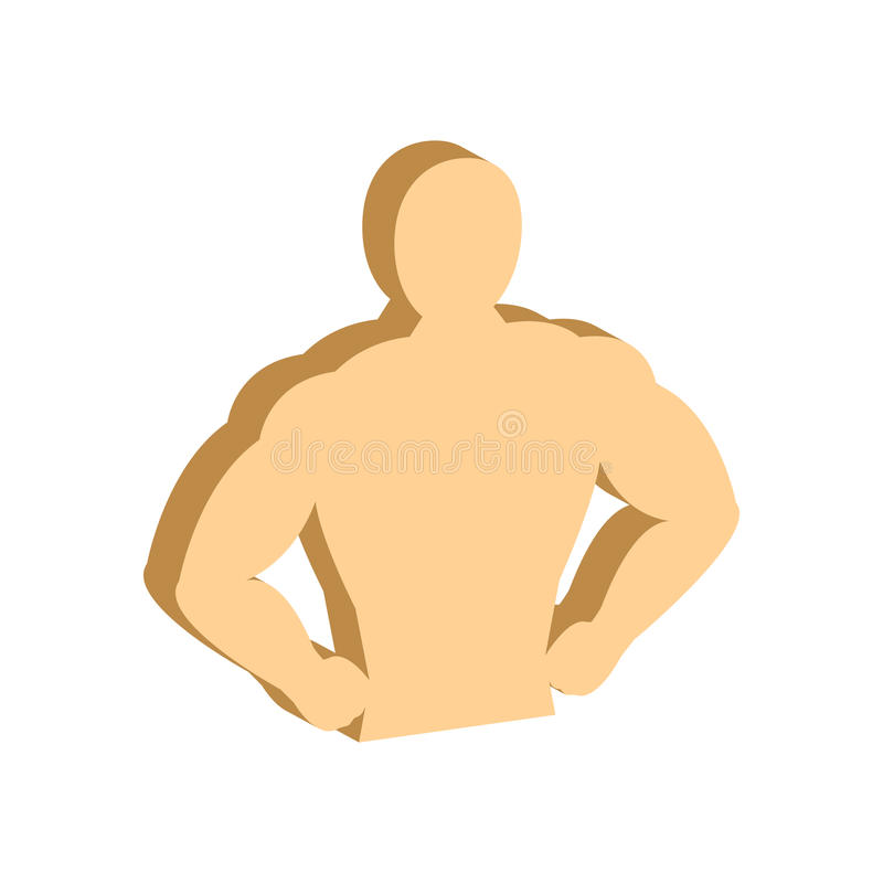 Muscle body, Bodybuilding, Fitness symbol. Flat Isometric Icon or Logo. 3D Style Pictogram for Web Design, UI, Mobile App, Infographic. Vector Illustration on vector illustration
