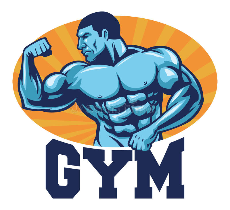 Muscle bodybuilder suitable for gym mascot. Vector of Muscle bodybuilder suitable for gym mascot royalty free illustration