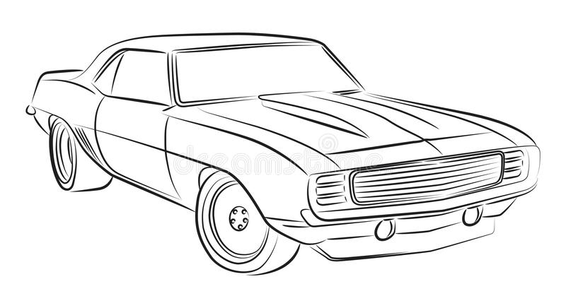 Muscle car drawing vector illustration