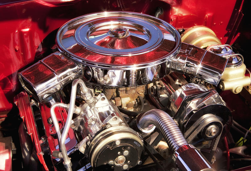 Muscle Car Engine. Chrome muscle car engine on display royalty free stock photo