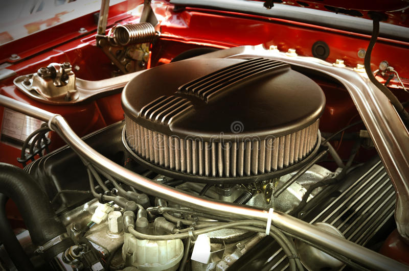 Muscle Car Engine. Powerful Vintage Muscle Car Engine royalty free stock images