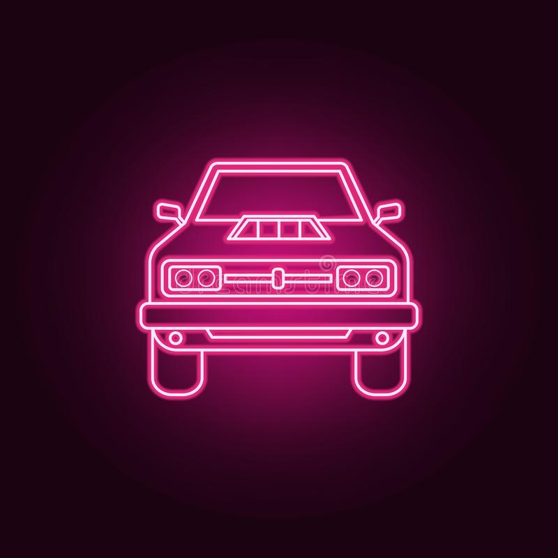 Muscle car front neon icon. Elements of bigfoot car set. Simple icon for websites, web design, mobile app, info graphics. On dark gradient background royalty free illustration
