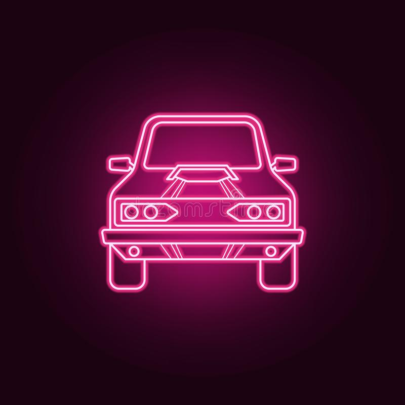 Muscle car front neon icon. Elements of bigfoot car set. Simple icon for websites, web design, mobile app, info graphics. On dark gradient background stock illustration