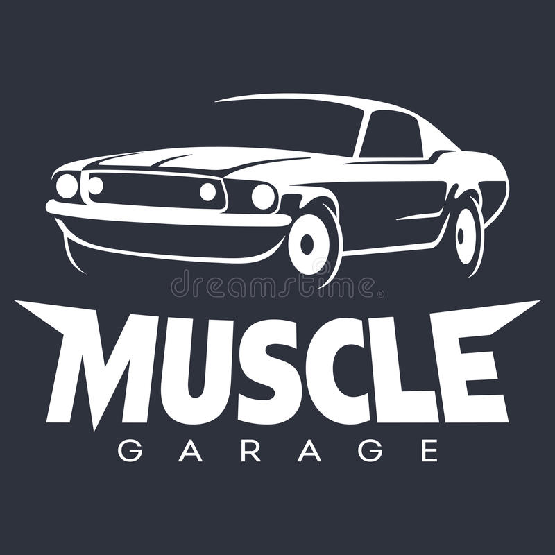 Muscle car Garage Logo white vector illustration