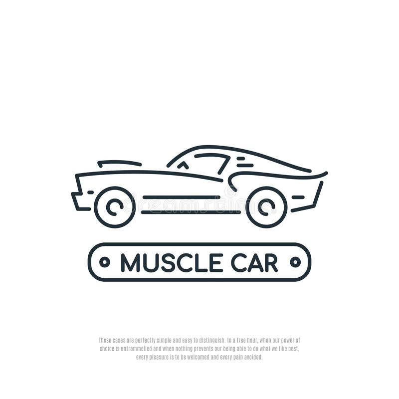 Muscle car line icon. Car symbol. Liner style. royalty free illustration