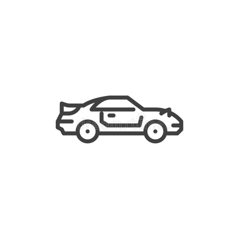 Muscle car line icon. Linear style sign for mobile concept and web design. Coupe car outline vector icon. Symbol, logo illustration. Vector graphics royalty free illustration