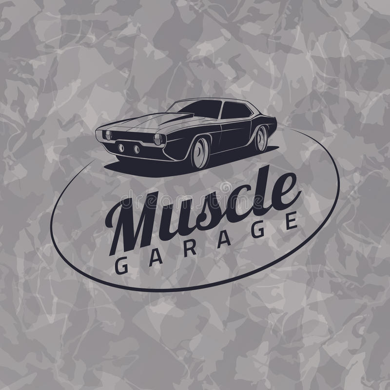 Muscle car logo. On grunge gray background vector illustration