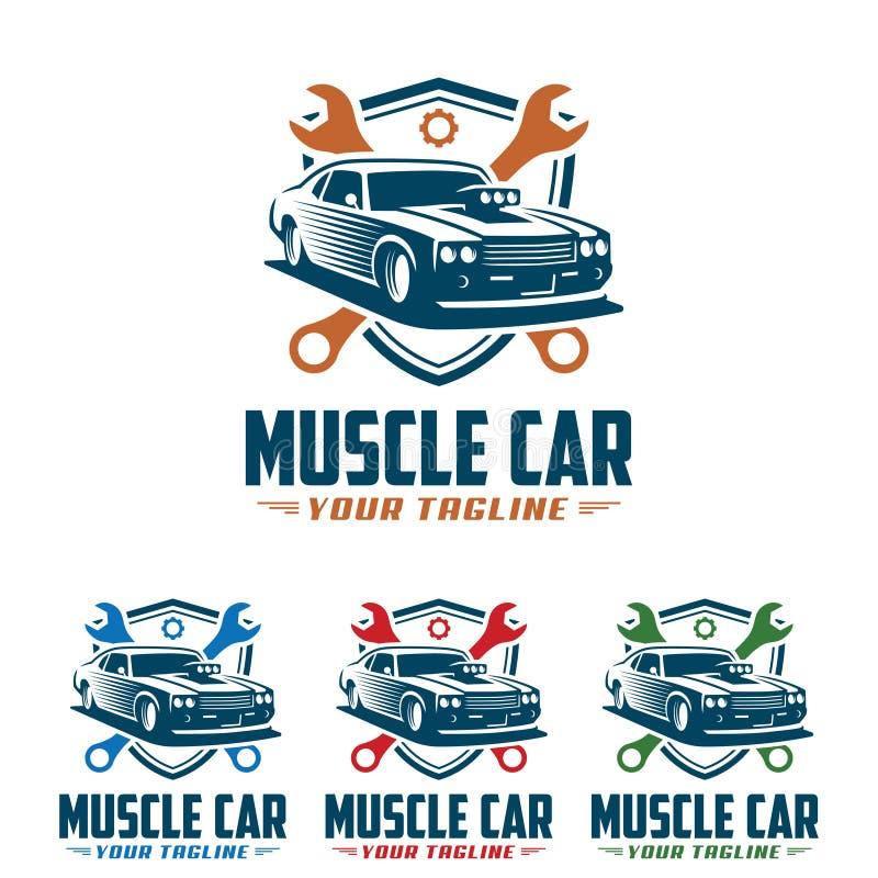 Muscle car logo, retro logo style, vintage logo vector illustration