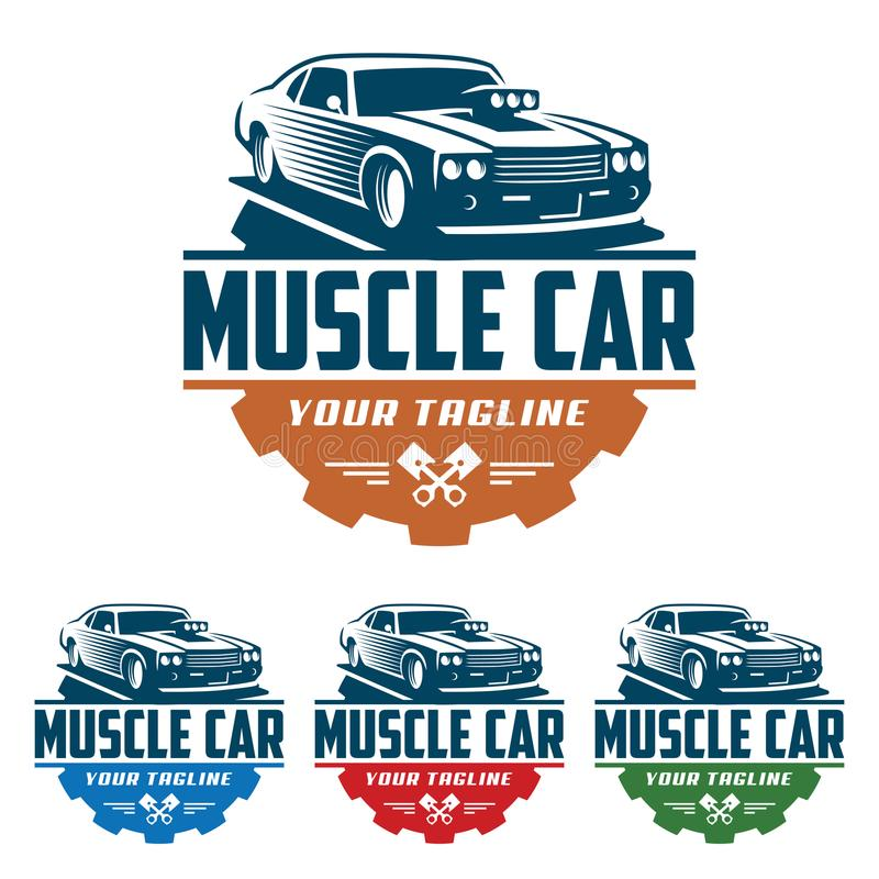 Muscle car logo, retro logo style, vintage logo. Template of Muscle car logo, retro logo style, vintage logo. Perfect for all automotive industry royalty free illustration