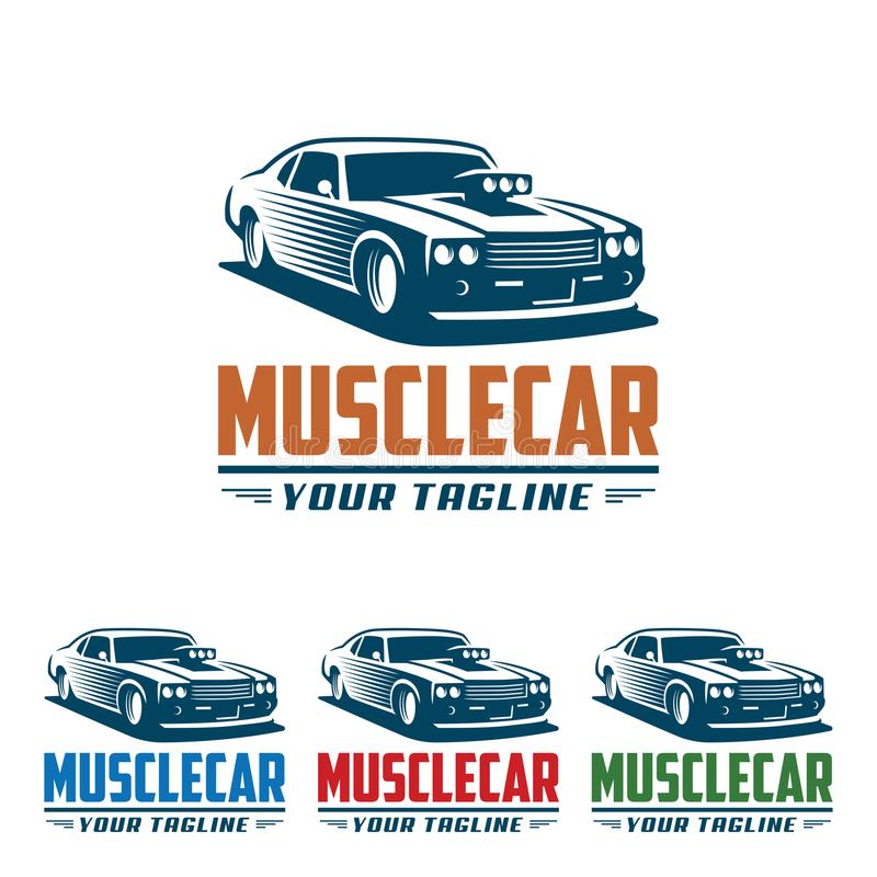 Muscle car logo, retro logo style, vintage logo stock illustration