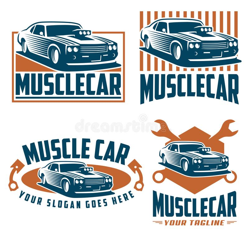 Muscle car logo, retro logo style, vintage logo royalty free illustration