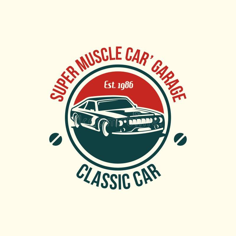 Muscle car logo template in retro style. Retro car logo vector stock illustration