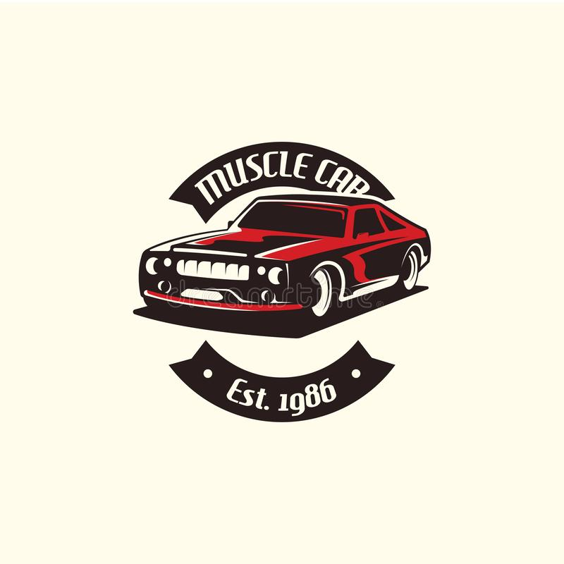 Muscle car logo template in retro style. Retro car logo vector vector illustration