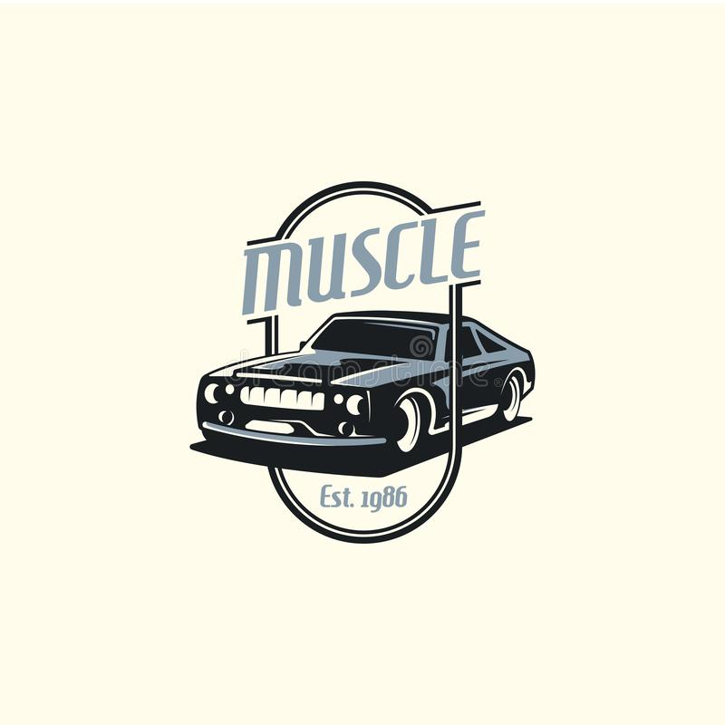 Muscle car logo template in retro style. Retro car logo vector stock illustration