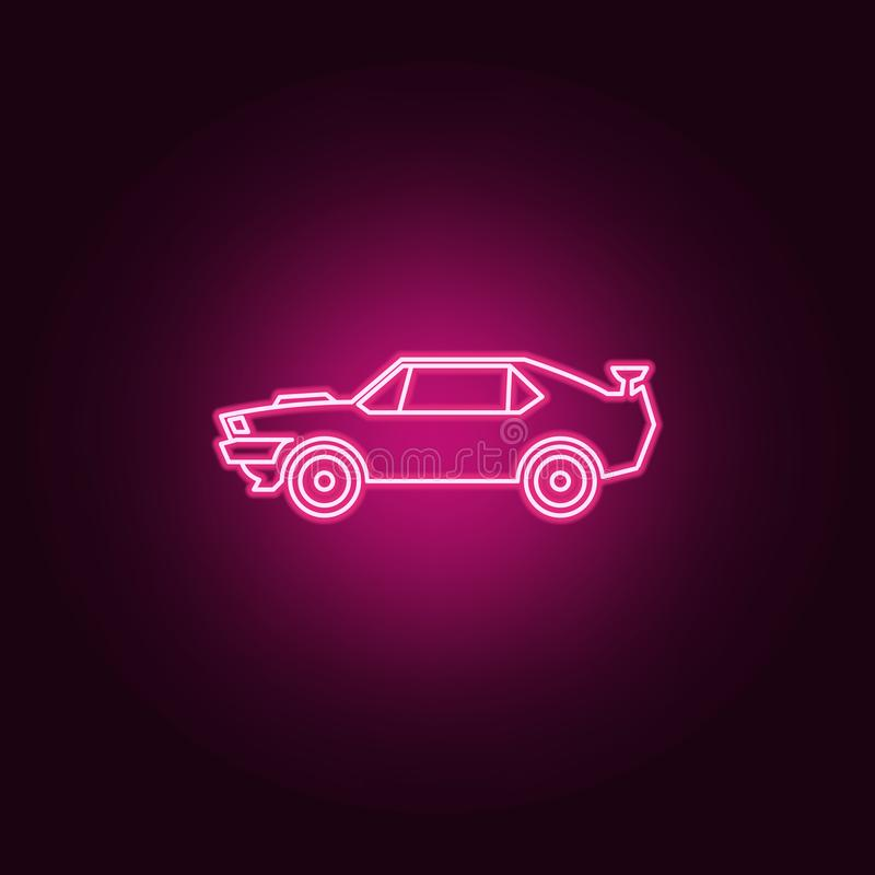 Muscle car neon icon. Elements of bigfoot car set. Simple icon for websites, web design, mobile app, info graphics. On dark gradient background stock illustration