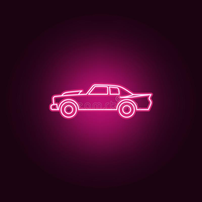 Muscle car neon icon. Elements of bigfoot car set. Simple icon for websites, web design, mobile app, info graphics. On dark gradient background vector illustration
