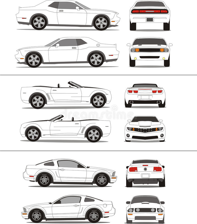 Muscle car outline template stock illustration