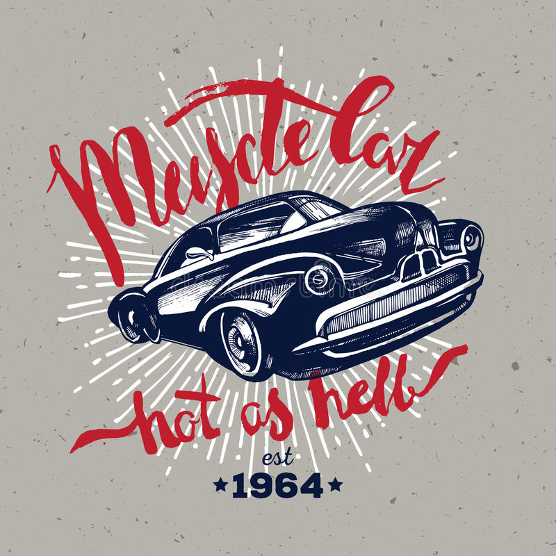 Muscle car. Retro classic stock illustration