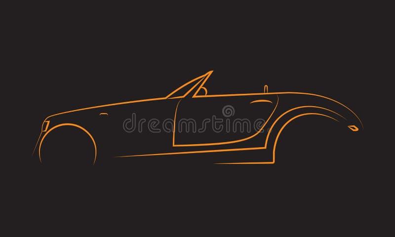 Silhouette of Classic Car. Muscle car silhouette american classic automotive automobile transport transportation. Logo Design stock illustration