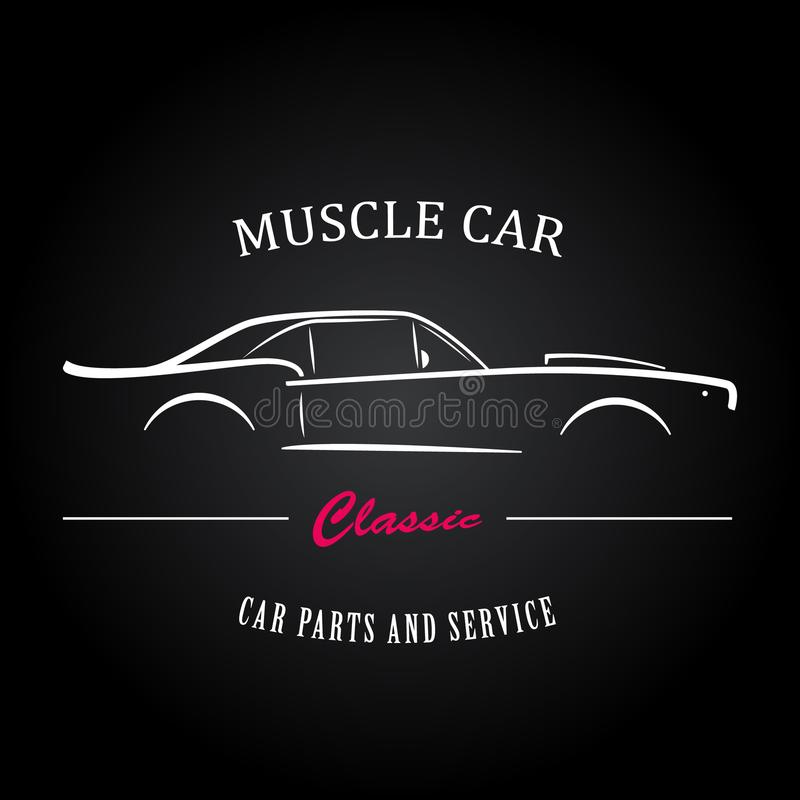 Muscle car silhouette. American classic sports car outlines. royalty free illustration