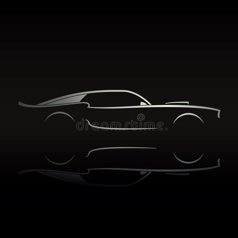 Muscle car silhouette on black background with reflection. vector illustration