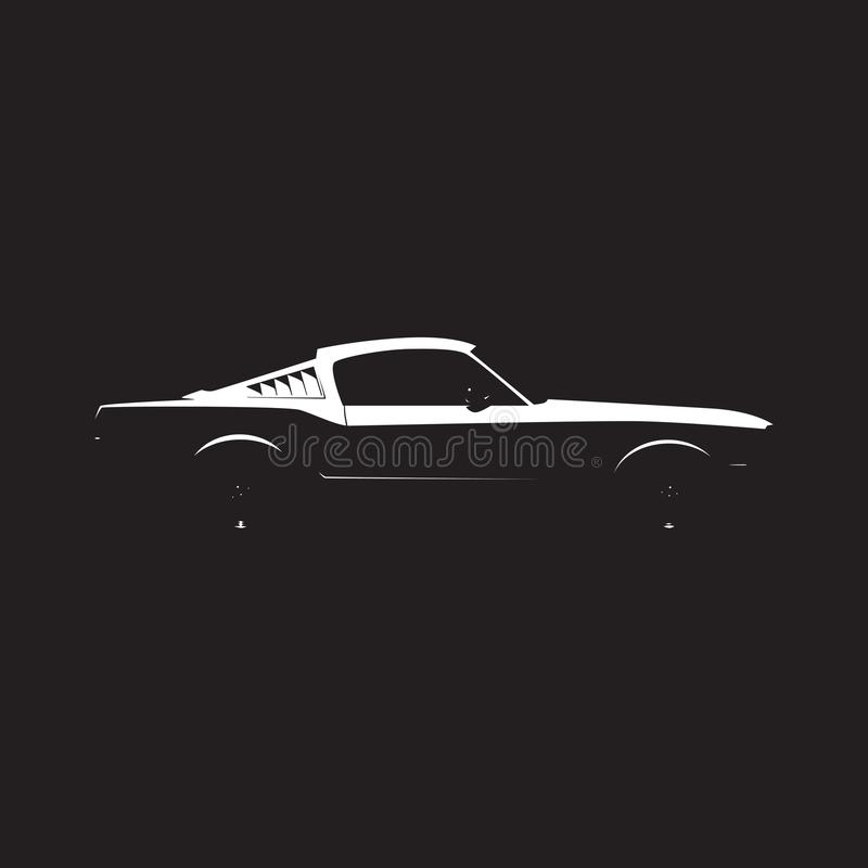 Vector muscle car silhouette stock illustration