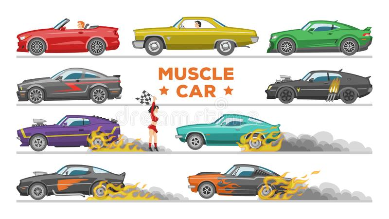 Muscle car vector racing speedcar on a track and retro race auto driving on rally sport event formula automobile stock illustration