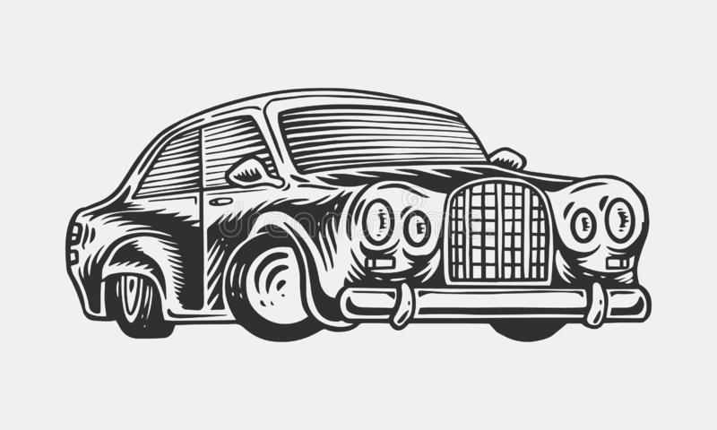 Muscle car or vintage transport. Classic Retro old school auto service. Poster or Banner. Engraved hand drawn sketch for vector illustration