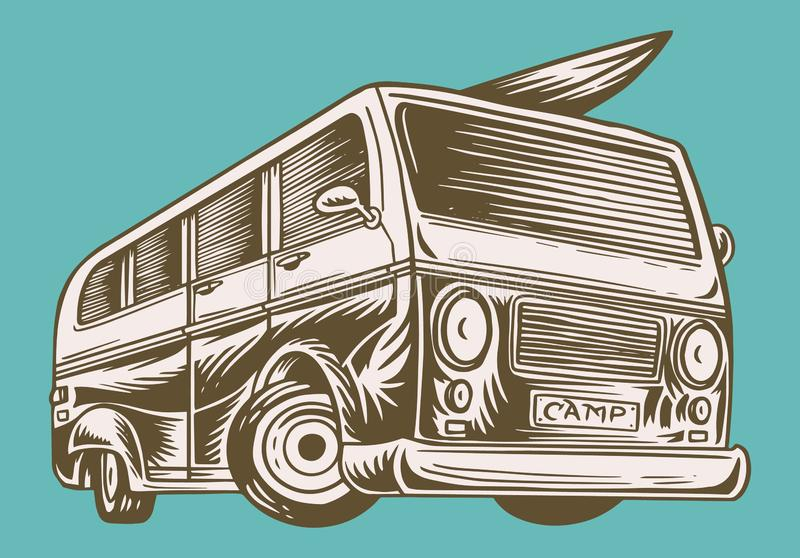 Muscle car or vintage transport. Classic Retro old school van. Poster or Banner. Engraved hand drawn sketch for logo and vector illustration