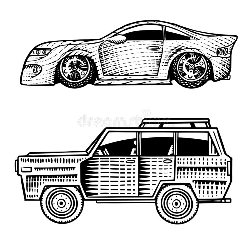 Muscle cars and vintage transports for logo and labels. Set of retro old school auto service. Collection of classic. Roadster. Engraved hand drawn sketch vector illustration