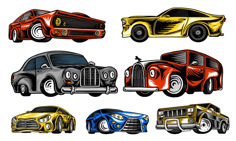 Muscle cars and vintage transports for logo and labels. Set of retro old school auto service. Collection of classic. Roadster. Engraved hand drawn sketch stock illustration