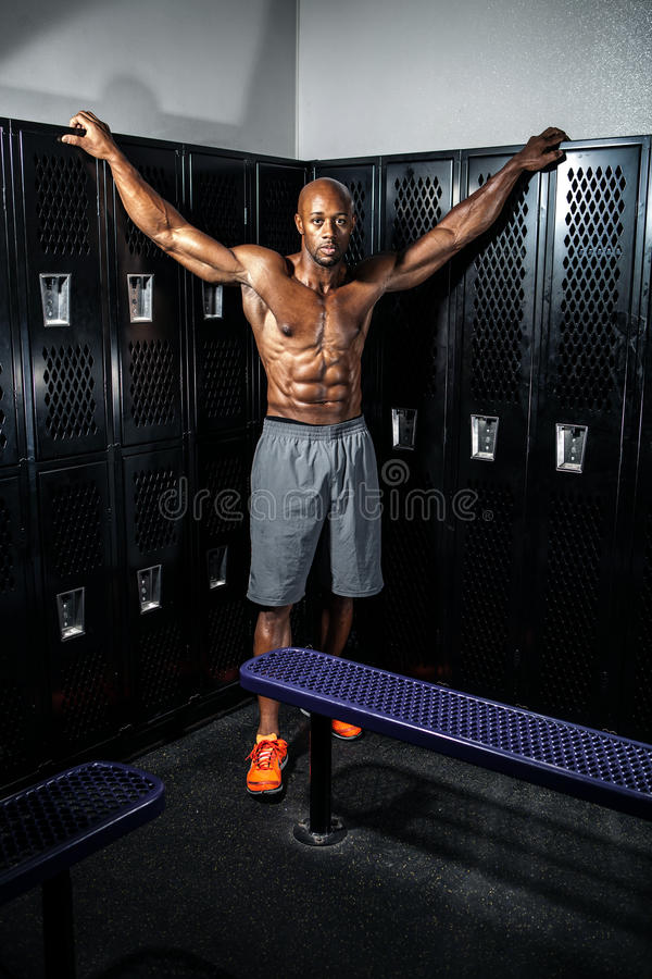 Muscle Fitness Locker Room Pose royalty free stock photos