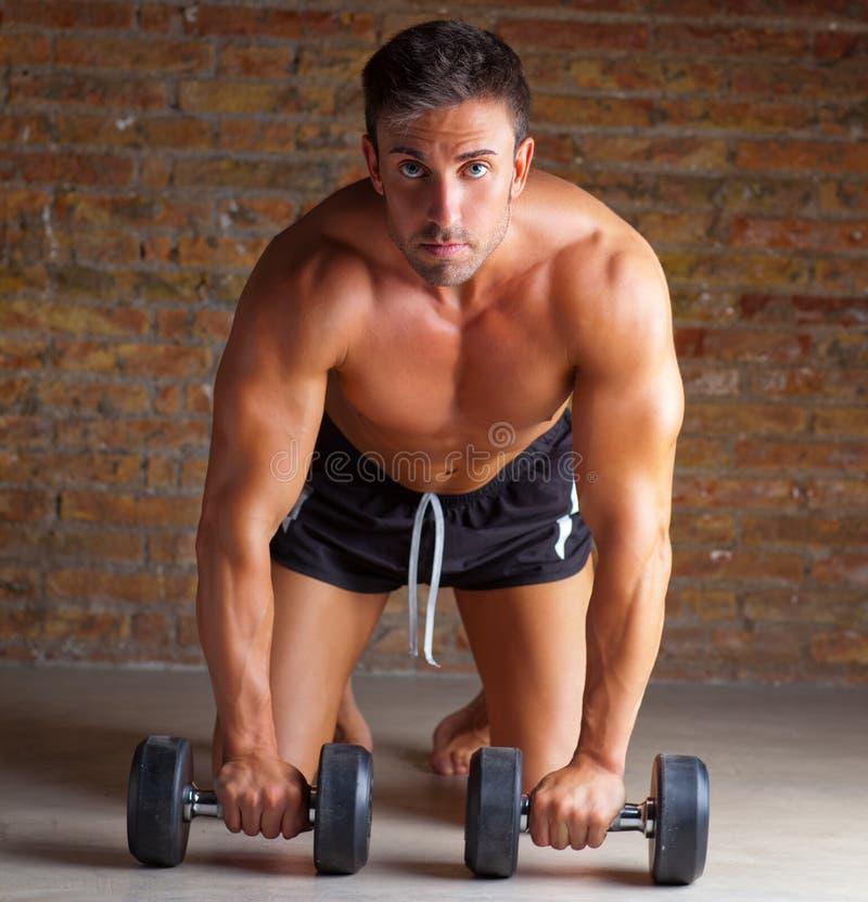 Muscle geformten Mann auf Knien mit Trainingsgewichten lizenzfreies stockfoto