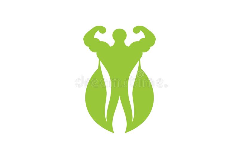 Muscle, green leaf, healthy food athlete logo inspiration isolated on white background. Muscle, green leaf, healthy food athlete logo Designs Inspiration vector illustration