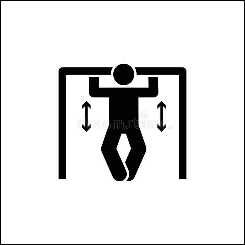 Muscle gym pull up with arrow pictogram royalty free illustration