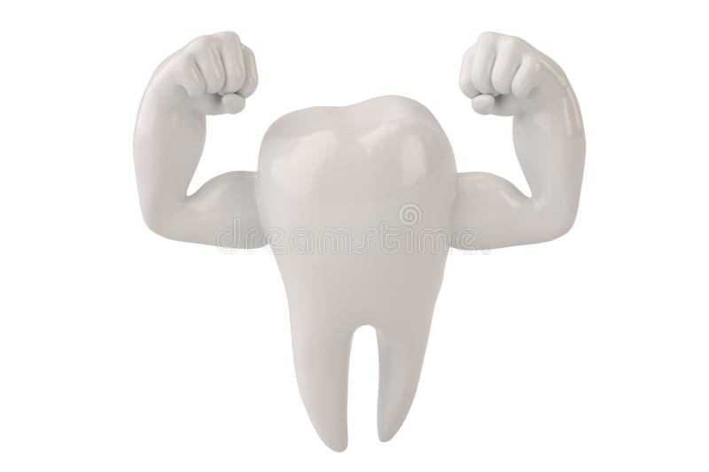 Muscle hands on tooth strong healthy tooth 3D illustration royalty free illustration