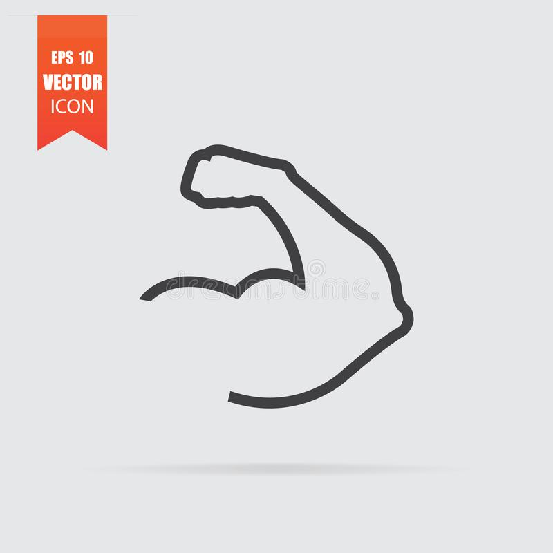 Muscle icon in flat style isolated on grey background. For your design, logo. Vector illustration royalty free illustration