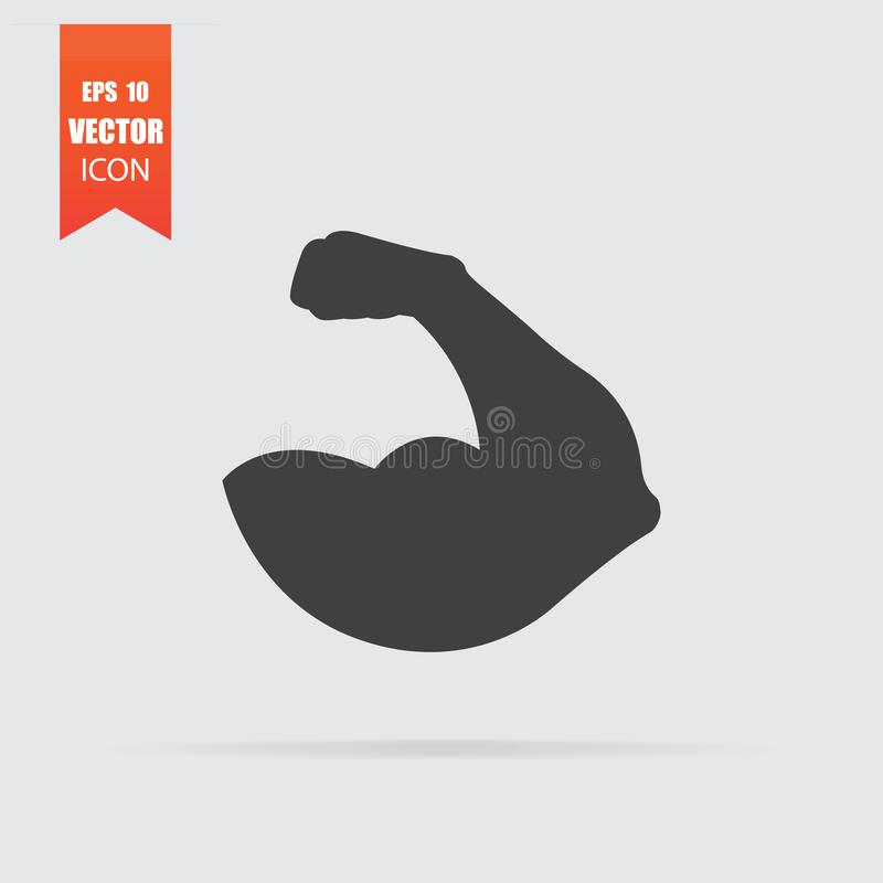 Muscle icon in flat style isolated on grey background. For your design, logo. Vector illustration vector illustration