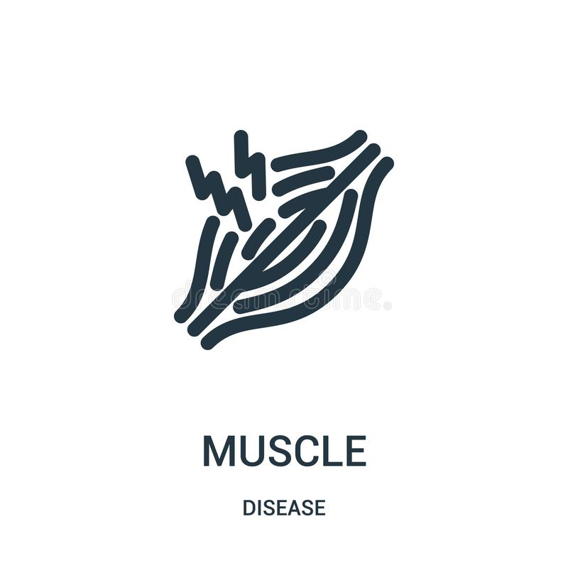 Muscle icon vector from disease collection. Thin line muscle outline icon vector illustration. Linear symbol for use on web and. Mobile apps, logo, print media stock illustration