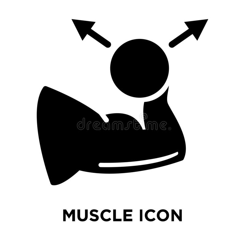 Muscle icon vector isolated on white background, logo concept of stock illustration